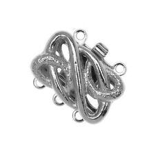 Rhodium Plated Elegant Elements Serpentine 3 Strand Box Clasp