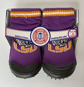 LSU Tigers SkidDers Skidproof Shoes 18 Months Size 6 New Baby Toddlers Geaux NEW