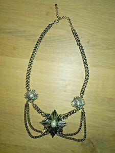 Vintage Damen Collier Trachten-Collier 3 Anhänger mit Perlenbesatz goldfarben