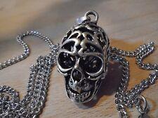 """Finemente dettagliate Unique SILVER Hollow teschio collana 27 """"argento / nero catena."""