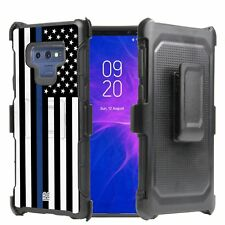 For Galaxy Note 9 Armor Hybrid Belt Clip Rugged Case US Flag Thin Blue Line