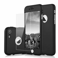 For iPhone5/5s/6+/7/6s Full 360° Hybrid Acrylic Hard Case Cover + Tempered Glass