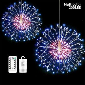 Outdoor 200LED Firework Fairy String Lights Hanging Lamp Garden Xmas Tree