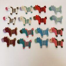 16 pc multicolored cotton horse crochet applique DIY craft sewing dress doll