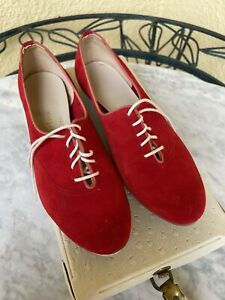 BOWLERINA BY EBONITE RED LADIES BOWLING SHOES IN ORIGINAL VINTAGE CARRYING CASE