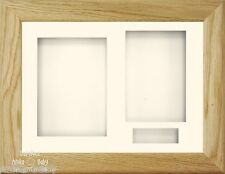 "11.5x8.5x2"" Solid Oak 3D Box Display frame Kit Memory Baby Keepsakes Wedding 6x4"