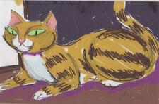 3393-Award winning artist George Kocar Digital Drawing, Cat in Studio. NEW!