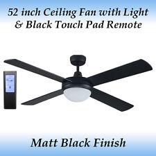 Fias Genesis 52 inch Matt Black Ceiling Fan with Light + Black Touch Pad Remote