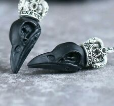 Drop Earnings Black Antique Silver Gothic Halloween Crowned Crow Raven Birdskull