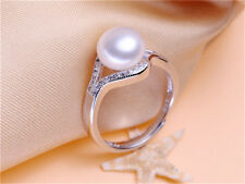 Beautiful Freshwater Pearl Women Fashion 925 Silver Party Jewelry Lady Ring Gift