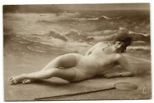 real Bathing beauty flapper girl by the sea photo postacrd 1924
