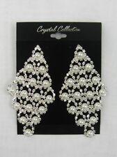 Large Silver Rhinestone Crystal Pearl Dangle Earrings # 42601 Wedding Bridal