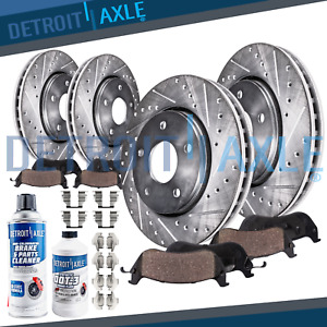 Front & Rear Brake Rotors Pads Dodge Ram 1500 Slotted Rotor Ceramic Brakes Pad