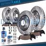 Front & Rear Brake Rotors Pads Dodge Ram 1500 Slotted Rotor Ceramic Brakes Pad