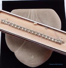 Vintage B David Clear Rhinestone Silver Tone Bracelet Estate Original Box