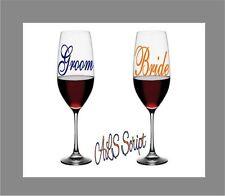 "Monogram Vinyl Wedding Decal, Wine Glass Decal, Groom Bride Gift Set 2.5"""