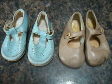 2 pairs of antique vintage children's baby shoes start-rite jen shoes blue fawn