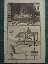 1766 antica stampa ~ lavaggio della lana fabbricazione attrezzature pettinatura Woolen