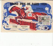 BILLET LOTERIE NATIONALE *GRAND PRIX DE PARIS* 1959