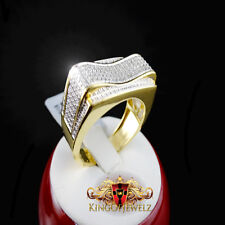 Men Genuine Diamond Angled Bold Design Wedding Groom Pinky Band Gold Finish Ring