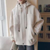 New Fashion Mens Loose Korean Jacket Wool Blend Outwear Hooded Parka Casual Coat