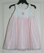 Girls Boutique Victoria Kids White & Pink Tulle Knit Sweet Portrait Dress 12-18m