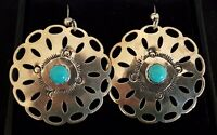Sterling silver & turquoise vintage Art Deco antique pair of earrings