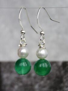 Silver Plated Semi Precious Stone Green Agate & Freshwater Pearl Earrings (mz60)