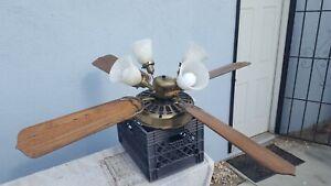 Working Vintage Casablanca Zephyr 3 III Ceiling Fan Antique Brass