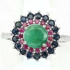 De Lujo Redondo 7 mm. Verde Esmeralda, Zafiro, Rubí Sterling 925 Plata Flor Anillo 9