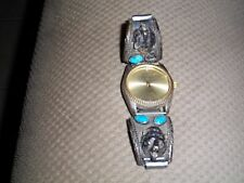 AFFINITY diamond quartz bears head  S/S turquoise  gem mens watch
