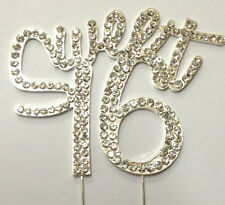 Rhinestone Sweet Sixteen 16 Number 16th Birthday Cake Topper Party Decoration