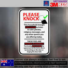 Do Not Knock No Soliciting Sarcastic Funny Sticker 10 cm  x 15 cm Multicolor