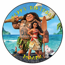 MOANA Edible Rice Paper Image Cake Birthday Party Topper Personalised 19cm
