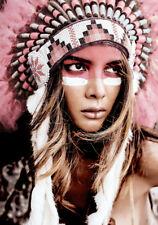 Girl Native American Indian Headdress Art Quality Canvas Print LARGE