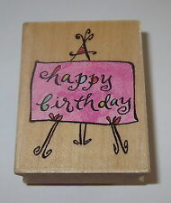 Happy Birthday Rubber Stamp Easel All Night Media Anne Keenan Higgins Wood Mount