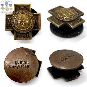 U.S.S. MAINE RECOVERED BRONZE SPANISH AMERICAN WAR VETERAN BADGE LAPEL PIN #1