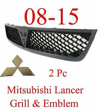 08 15 Mitsubishi Lancer 2Pc Black Grill & Chrome Emblem MI1200254, 7450A095