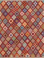 Geometric Reversible Kilim Diamond Oriental Area Rug Pastel Color Hand-woven 5x6