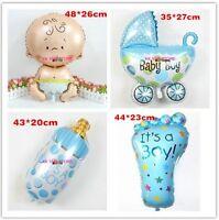 4pcs Baby BOY Shower Foil Balloons Pram Bottle Baby and Foot