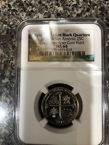 """First """"W"""" Mint Mark Qtr 2019 W San Antonio Great American Coin Hunt Ms 64"""