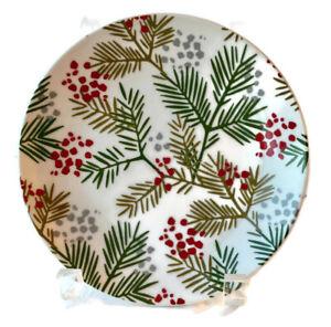 "Crate & Barrel Pine & Berries Christmas Evergreen 6.5"" Appetizer Plates (4)"