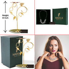 with Rhodium Plated Necklace Flower Design Matashi 24k Gold Plated Jewelry Stand