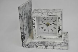 Antique White Bookend with Black Clock print Wooden with Clock Design