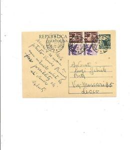 INTERO POSTALE LIRE 15 DEMOCRATICA + ALTRI VALORI 22/8/1951 DA CAMERLATA