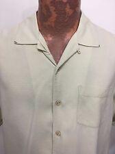 Tommy Bahama M Pale Green Hawaiian Short Sleeve Silk Camp Shirt Loop Collar