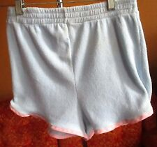 L True Vtg 70s BLUE/PINK PIPED SHORTS High Waisted W 26-27 RED TENNIS SIDE SLIT
