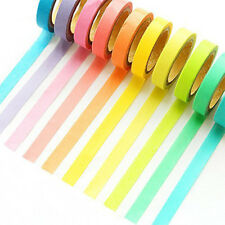 10 Rolls DIY Rainbow Tape Candy Colors Washi Adhesive Decor Sticky Paper Marking