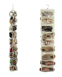 Heavy Duty 18 Pocket Hanging Shoe Organiser for up to 18 Pairs, 30x137cm Beige