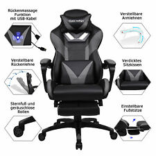 Massage Racing Gaming Stuhl Chefsessel Bürostuhl Drehstuhl Mit Fußstütze 150Kg
